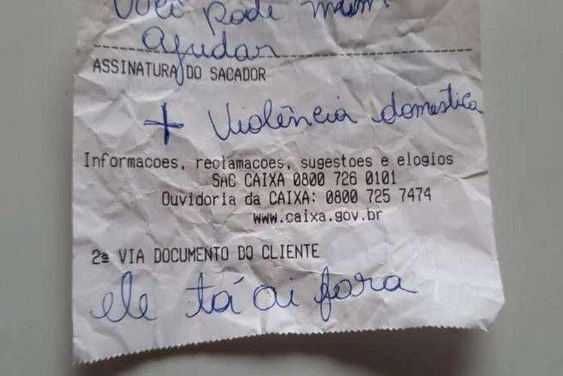 (Vítima pediu socorro em bilhete para servidora de banco que foi retirar benefício em Sobradinho. Foto: Divulgação)