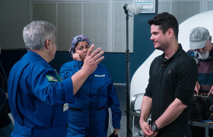 Bastidores das gravações na NASA (Foto: Divulgação)