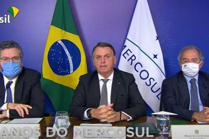 """Presidente afirmou durante discurso na reunião do bloco, nesta sexta-feira (26/3), que a regra """"não pode ser transformada em instrumento de veto ou freio permanente""""  (Foto: Reprodução/TV Brasil)"""