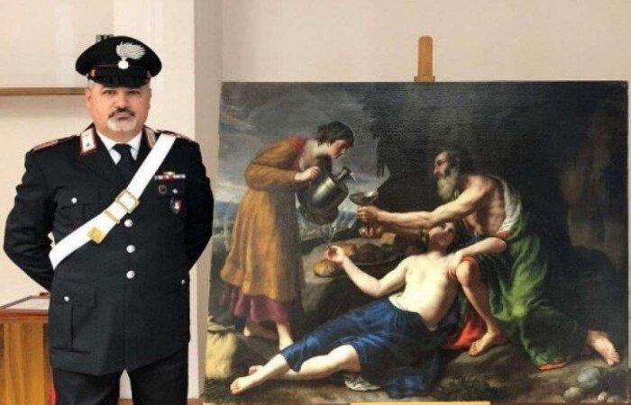 """A tela """"Loth avec ses deux filles lui servant à boire"""", um óleo de 120x150 cm, foi roubado durante a ocupação dos alemães em Poitiers (centro-oeste da França), segundo um comunicado divulgado pelos carabineiros italianos (HANDOUT/CARABINIERI PRESS OFFICE/AFP)"""