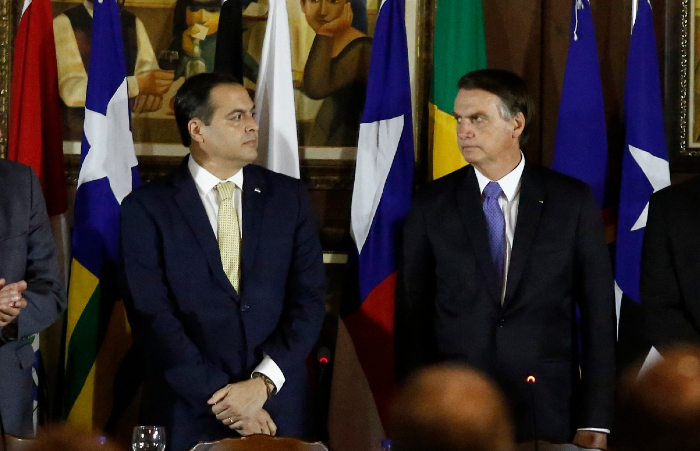 Jair Bolsonaro e Paulo Câmera em encontro no Recife, em maio de 2019 (Foto: Peu Ricardo/DP)