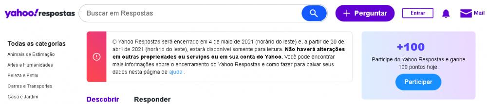 (Comunicado publicado no topo da página do Yahoo Respostas. Foto: Print do comunicado)