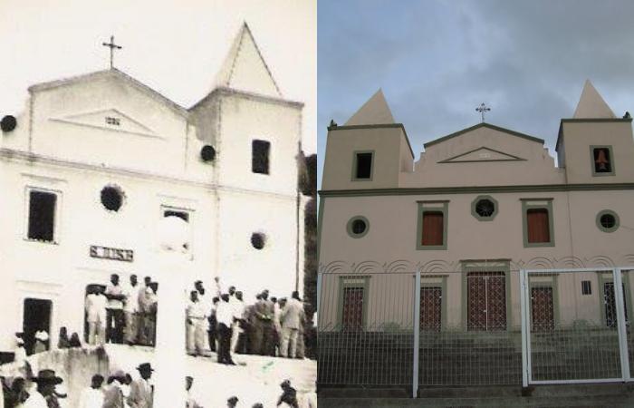 Igreja de São José na primeira metade do século 20 e na atualidade (Foto: Wikipedia e Mapio/Reprodução)