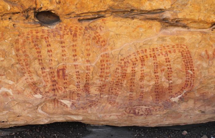 Pintura rupestre da Tradição Nordeste encontrada em uma gruta do Catimbau (Foto: Neison Freire/Divulgação)