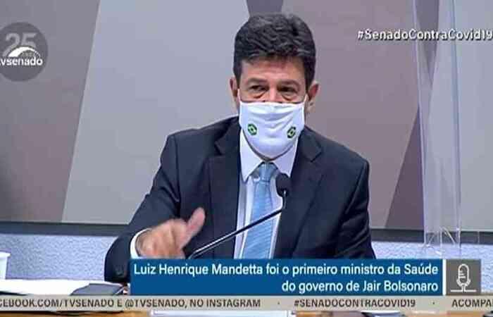 Ex-ministro afirmou na CPI do Coronavírus que orientação acontecia antes de a Covid-19 se tornar realidade no país  (foto: Reprodução/YouTube TV Senado )