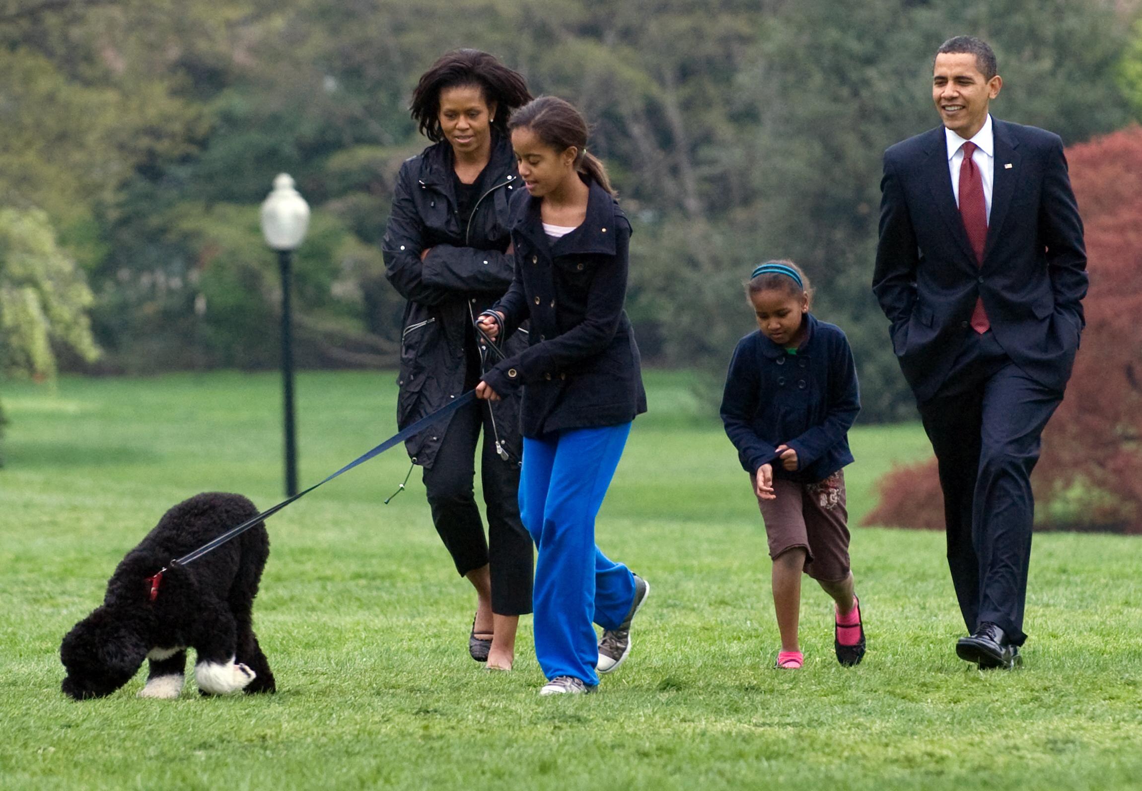 (Bo, um cão de água português, preto e branco, foi um presente do senador Edward Kennedy para a família Obama. Foto: SAUL LOEB / AFP)