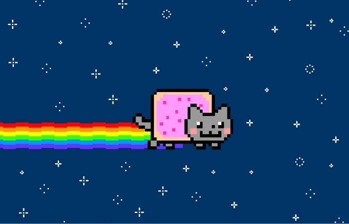 Criado em 2011 por Chris Torres, o Nyan Cat se tornou um dos maiores virais da internet. O GIF foi vendido pelo dono após gerar seu NFT (Foto: Reprodução)