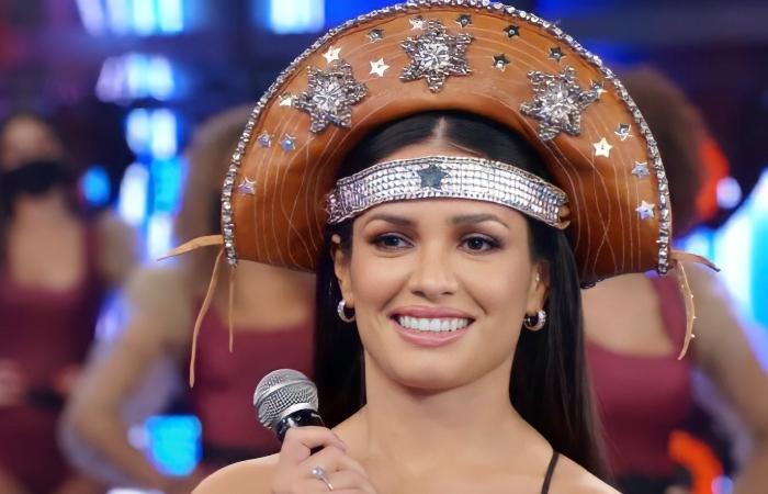 Juliette Freire no Domingão do Faustão, da TV Globo, após vitória (Foto: TV Globo/Reprodução)