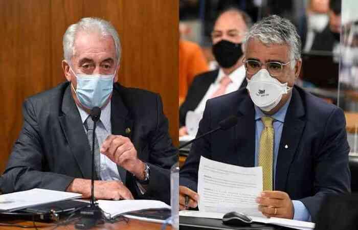 Senadores Otto Alencar (PSD-BA) e Eduardo Girão (Podemos-CE) se desentenderam a respeito da vacinação no Brasil e sobre uso da cloroquina e ivermectina  (foto: Agência Senado )