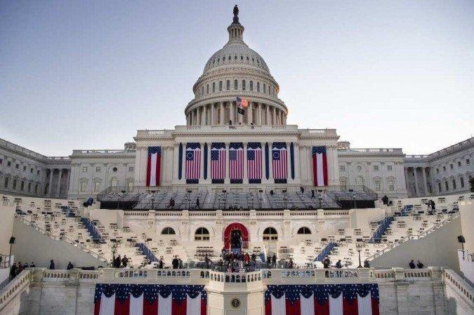 (Os últimos 2.149 dos quase 26.000 soldados de uma mobilização extraordinária em Washington partiram no fim de semana, quando a missão de proteger o Congresso terminou formalmente. Foto: Caroline Brehman / POOL / AFP)