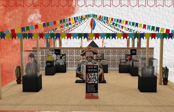 A montagem inclui réplicas de itens do Rei do Baião e curiosidades juninas (Foto: Arte/Divulgação)