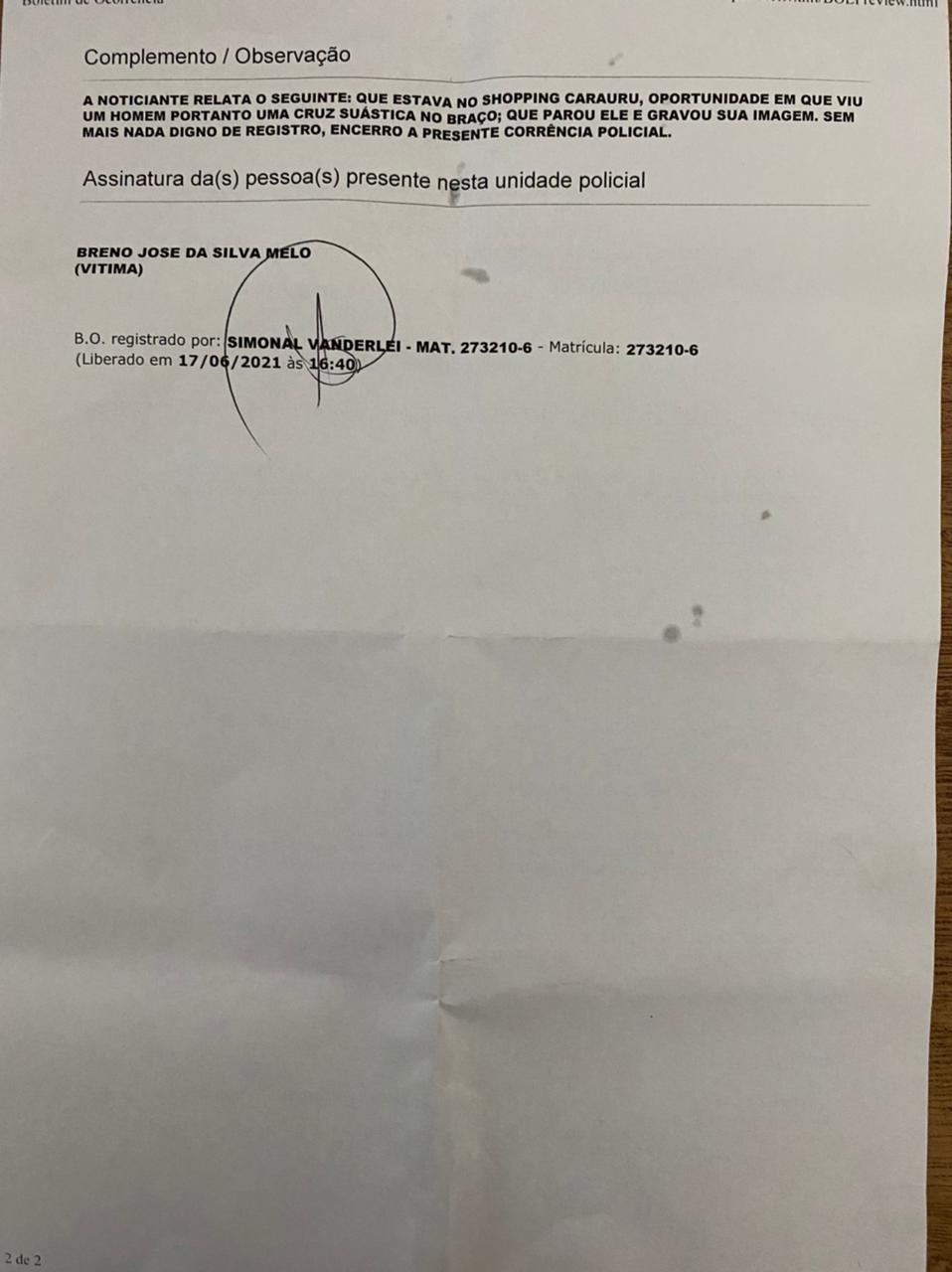 As informações pessoais do denunciante foram omitidas por razões de segurança (Foto: Cortesia)