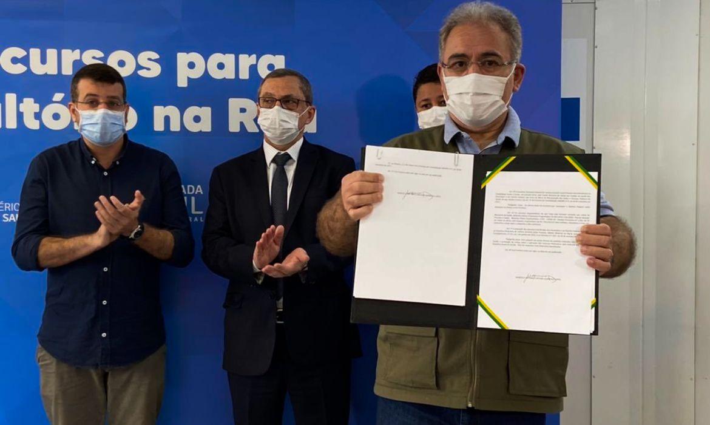(Ministro da Saúde enaltece importância da imunização contra Covid-19. Foto: Reprodução/Twiter Marcelo Queiroga)