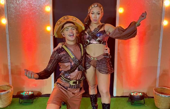 George e Vitória Kelly, durante live (Foto: Divulgação)