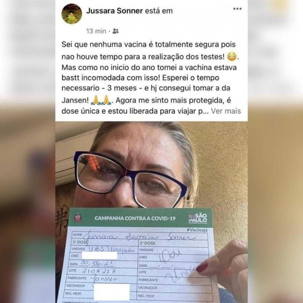 """(Sei que nenhuma vacina é totalmente segura pois não houve tempo para a realização dos testes. Mas como no início do ano tomei a vachina (sic) estava bastante incomodada com isso. Esperei o tempo necessário e hoje consegui tomar a da Janssen"""", declarou Jussara nas redes. Foto: Reprodução/Instagram @brasilfedecovid)"""