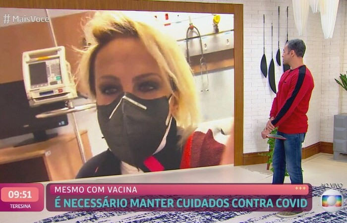 A apresentadora descobriu ao fazer a testagem semanal nos estúdios da Globo (Foto: Globo/Reprodução)