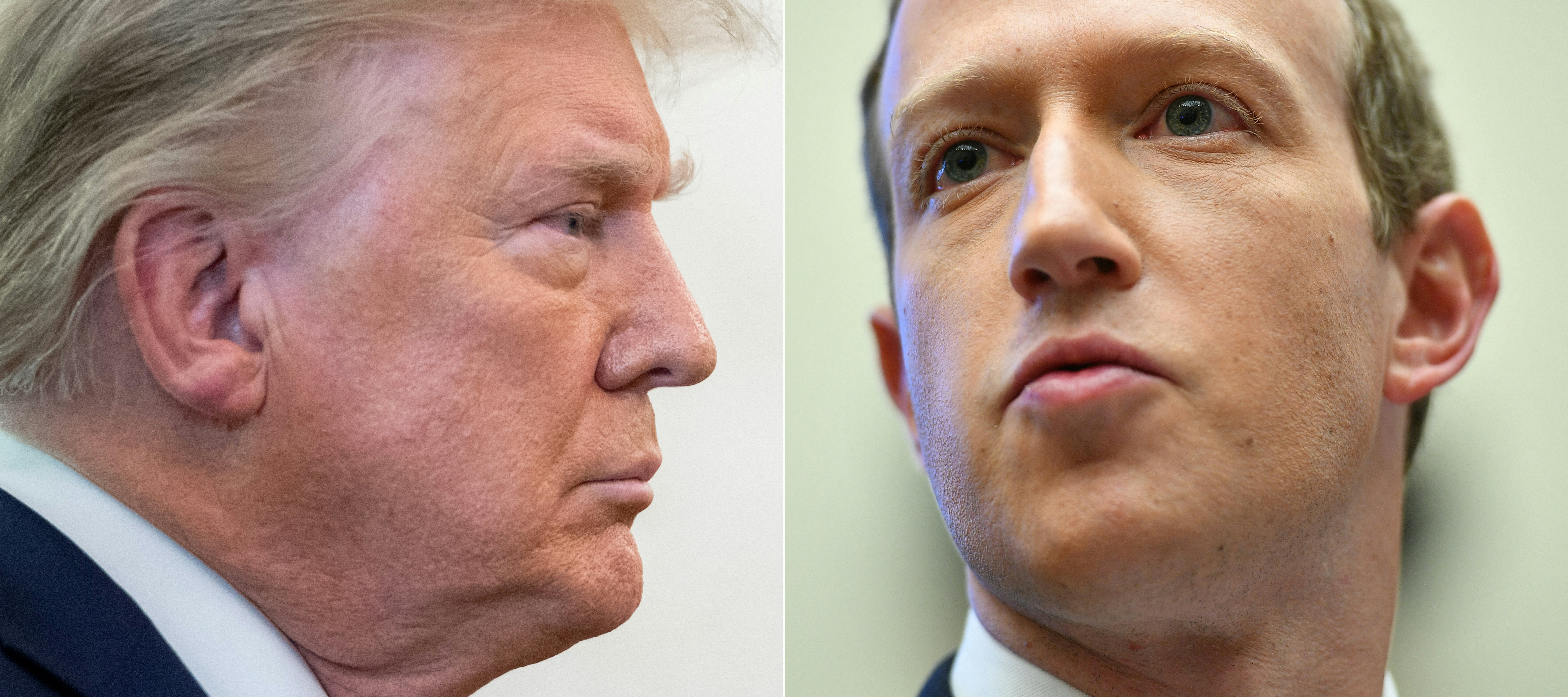 (Em junho, o Facebook anunciou sua decisão de suspender as contas de Trump por dois anos. Foto: MANDEL NGAN, SAUL LOEB / AFP)