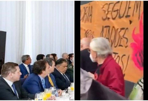 Montagem mostra ministros e militares assistindo a vídeo sobre manifestações contra Bolsonaro. (foto: Reprodução)