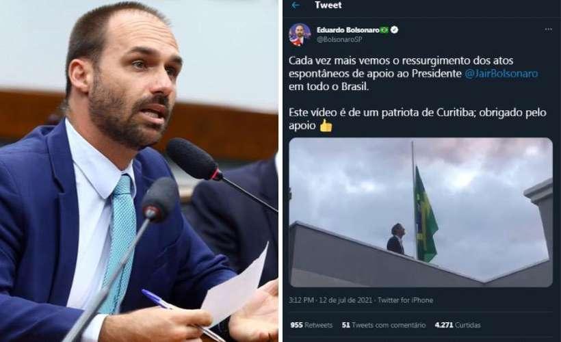 (Eduardo Bolsonaro compartilhou vídeo de 'patriota'. Foto: Cleia Viana/Câmara dos Deputados Redes Sociais/Reprodução)