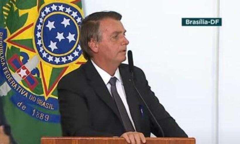 (Presidente Jair Bolsonaro (sem partido) na cerimônia de sanção da medida provisória que viabiliza a privatização da Eletrobras. Foto: TV Brasil/Reproduçã)