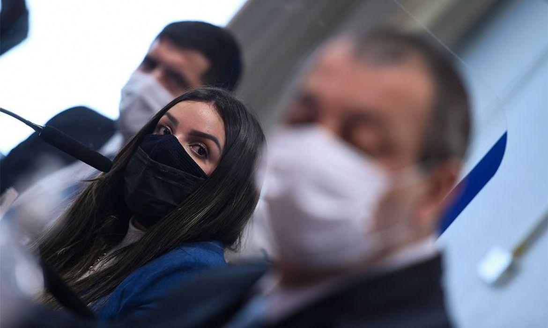 (A diretora da Precisa, Emanuela Medrades, prestou depoimento hoje. Foto: Edilson Rodrigues/Agência Senado )