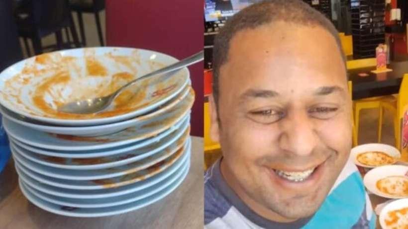 (João Carlos conta que pagou R$ 19,90 e comeu 14 pratos no rodízio de massas de um restaurante em São Paulo. Foto: Reprodção/Redes sociais)