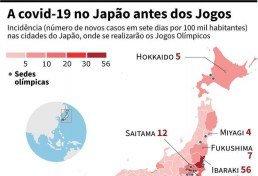 Mapa mostrando a incidência (número de casos novos nos últimos sete dias por 100.000 habitantes) nas prefeituras do Japão, onde terão início os Jogos Olímpicos em 23 de julho. (Foto:  LAURENCE SAUBADU, GIULIO FURTADO, CLÉA PÉCULIER / AFP)