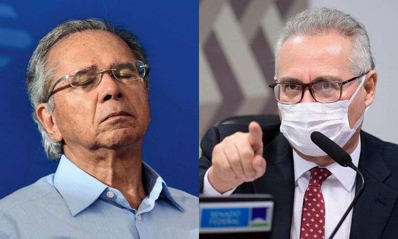 (Ministro da Economia, Paulo Guedes, e relator da CPI da Covid, Renan Calheiros. Foto: AFP/Agência Senado)