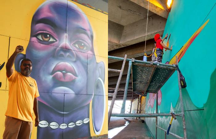 Adelson Boris construiu o painel Inã (fogo), em que se visualiza uma mulher ladeada por duas sankofas (Foto: Priscilla Melo/Divulgação)
