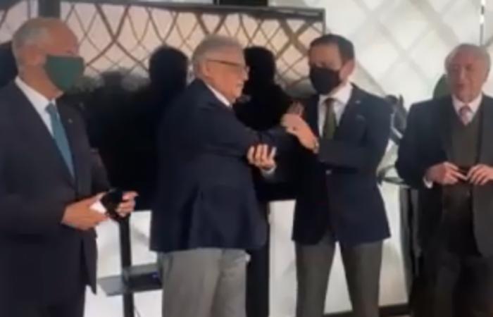 """""""Ele é candidato à presidência e tem o meu voto"""", disse o ex-presidente durante reinauguração do Museu da Língua Portuguesa (Reprodução / Governo de SP)"""