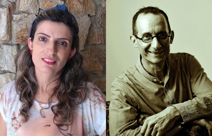 Vanessa Molnar, autora de A importância dos telhados, e Luis Krausz, autor de Opulência. (Foto: Divulgação)