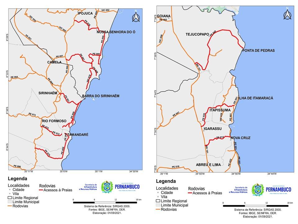 Litoral Sul | Litoral Norte (Comunicação Seinfra-PE/Divulgação)
