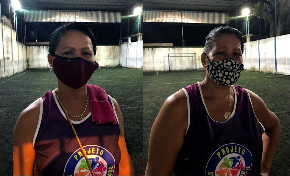 Edna e Agineide relatam a melhora da saúde depois da prática de atividade física. (Fabson Gabriel/DP)