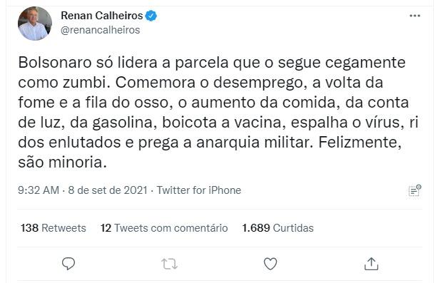 (Renan Calheiros via Twitter)