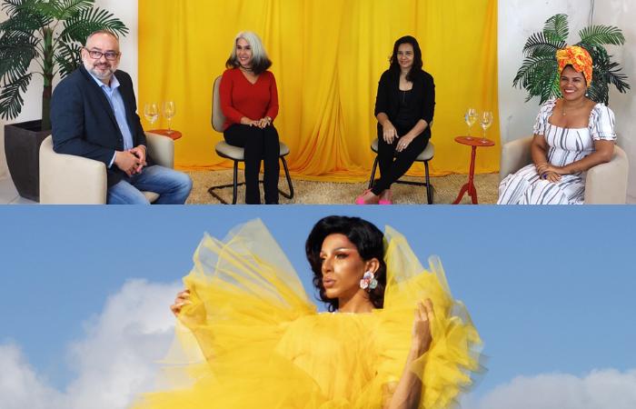 Debate com Bruno Filizola,Maria do Céu, Shyrley Araújo e Iris Maria (acima) e curta-espetáculo com Ruby Nox (abaixo) (Foto: Divulgação)