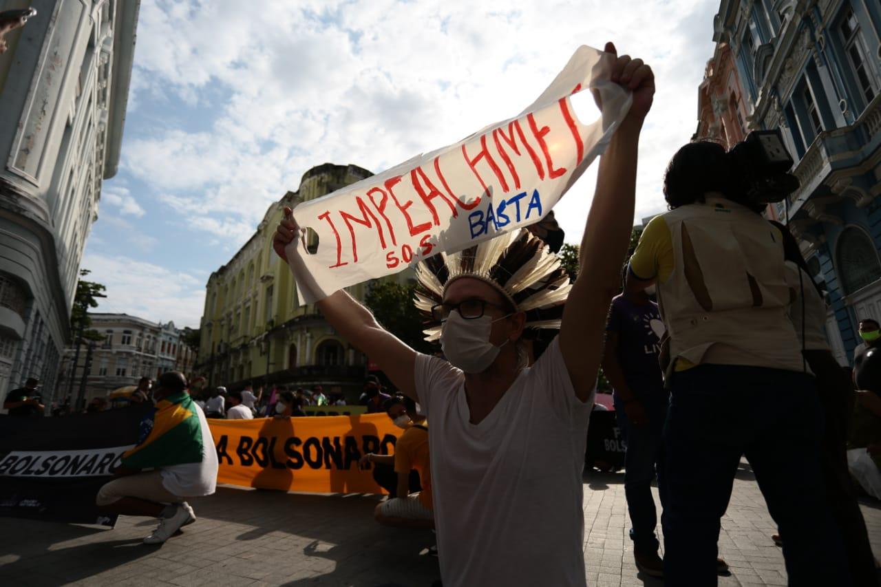 Manifestação reuniu movimentos sociais e partidos políticos, pelo afastamento do presidente da República e em defesa da democracia. (Arnaldo Sete/Esp. DP Foto)
