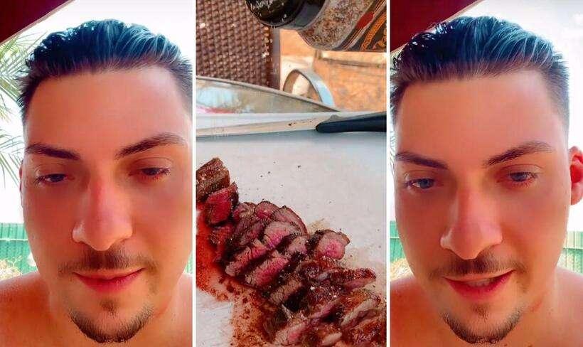 Filho '04' do presidente Jair Bolsonaro, Jair Renan posta imagens do churrasco que faz em casa nesta quarta-feira (15) (Foto: Reprodução/Redes sociais)