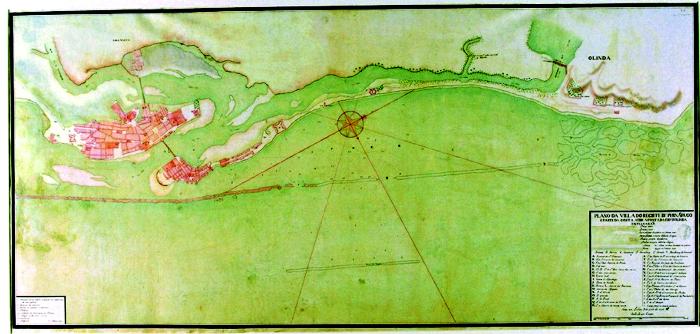 Mapa do Recife no século 18 (Foto: Cepe/Divulgação)