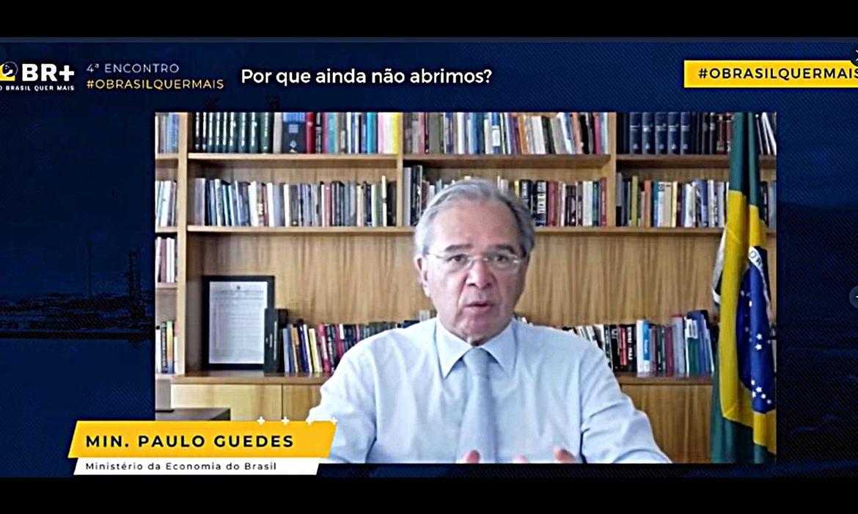 (Guedes participou de evento da Câmara Internacional de Comércio. Foto: Reprodução/Twitter ICC Brasil)