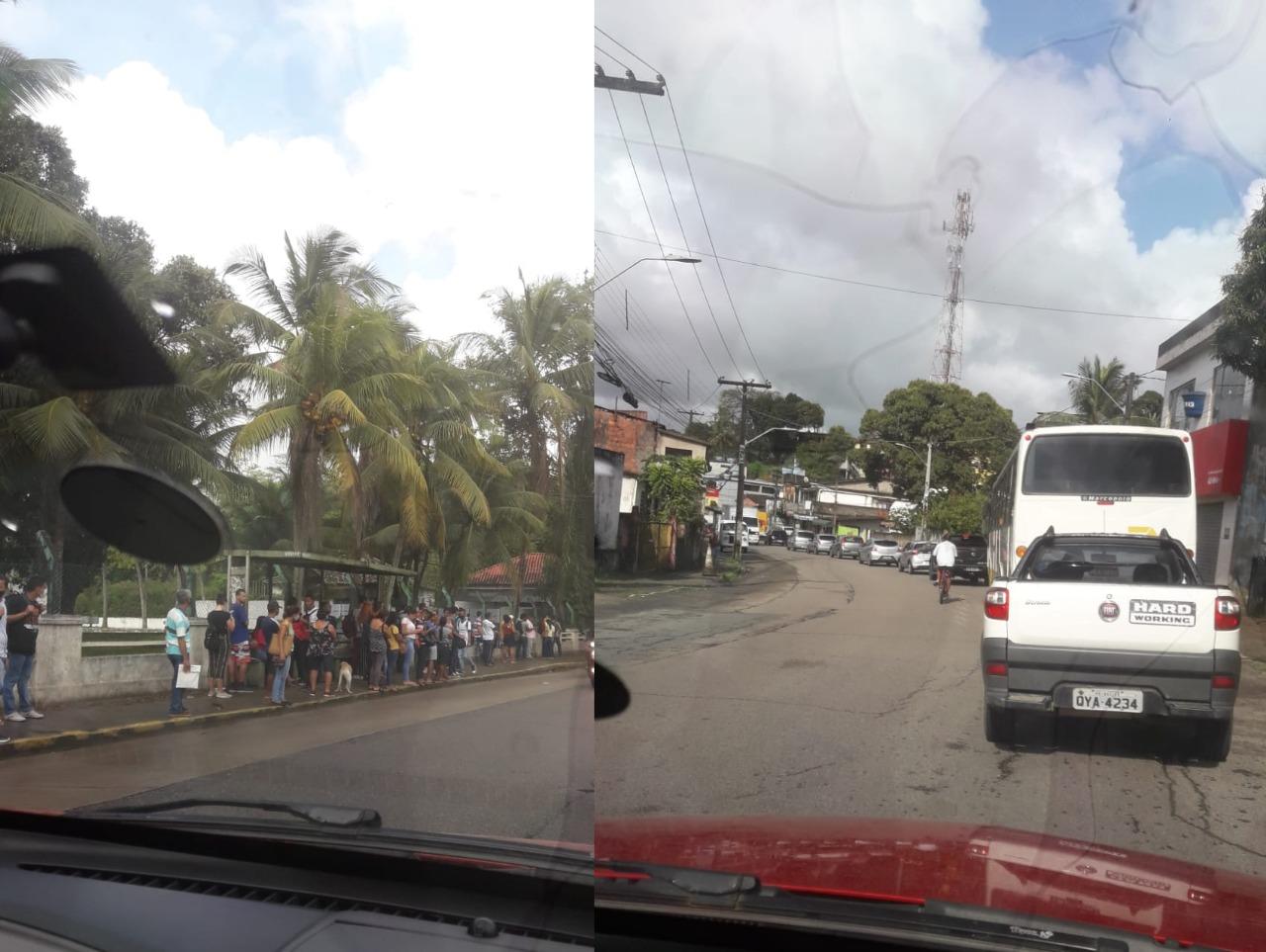 Transtornos causados nas ruas de Jaboatão com a paralisação parcial do Metrô na região. Na foto, o trecho próximo ao 14º Batalhão de Infantaria Motorizado, no bairro de Socorro. (Reprodução/WhatsApp)