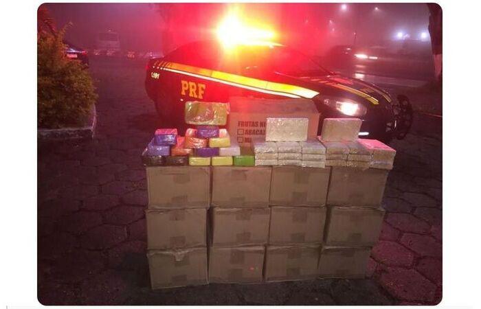 Devido ao alto grau de pureza, a apreensão da droga representa um prejuízo financeiro de R$ 72,9 milhões ao crime organizado (Foto: PRF/Divulgação)