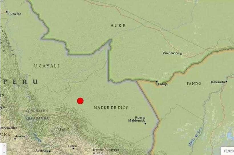 (Epicentro foi registrado em uma área de mata fechada na reserva de Madre de Diós e próximo ao Alto Purus. Foto: Serviço Geológico dos Estados Unidos/Reprodução)