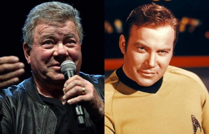 O ator William Shatner vai se tornar a pessoa mais velha a ir ao espaço, com 90 anos (Foto: Josh Edelson/AFP e CBS/Divulgação)