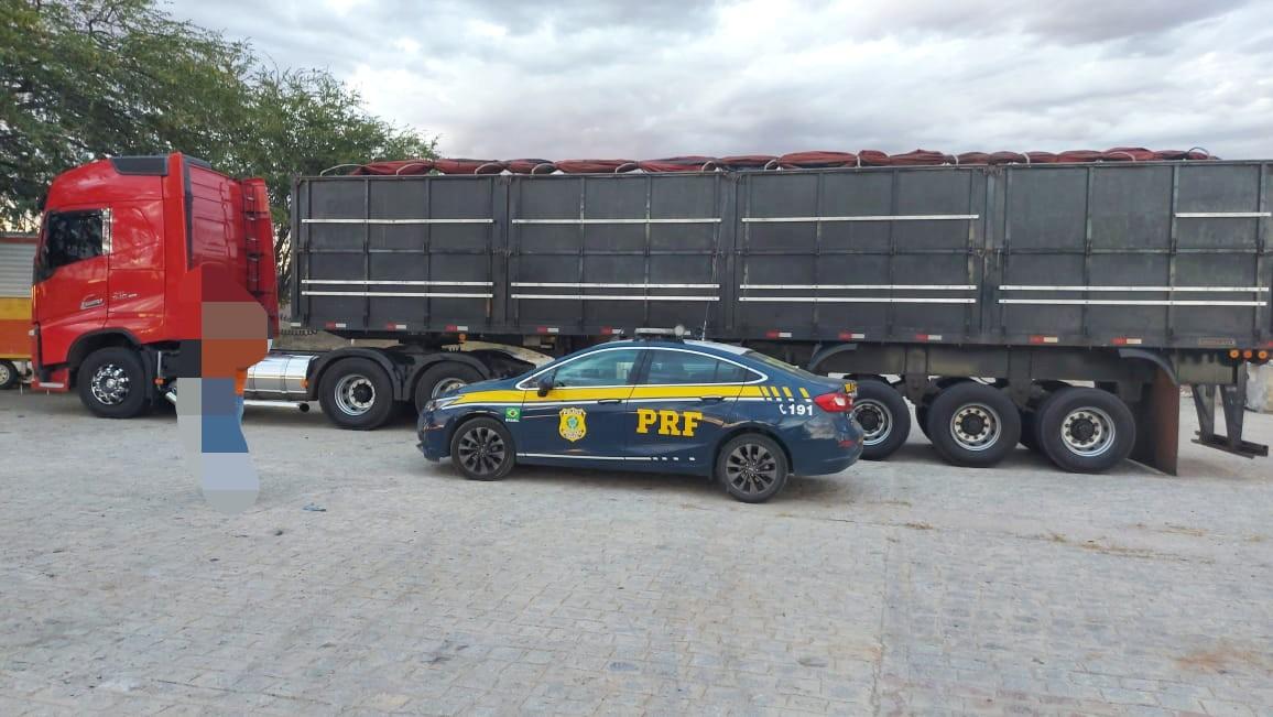 Motorista não possuía a Guia Florestal nem a Nota Fiscal da mercadoria. (PRF/Divulgação)